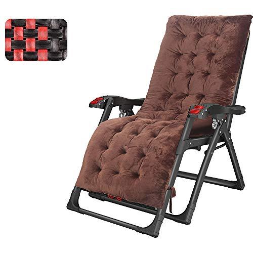 FUFU Deckchairs Lounge Chair mit abnehmbaren Kissen und Kopfstützen, Outdoor-Faltbare tragbare Sonnenliege mit erweitertem Sitz, Unterstützung 440 Pfund Klappbar (Color : Brown)