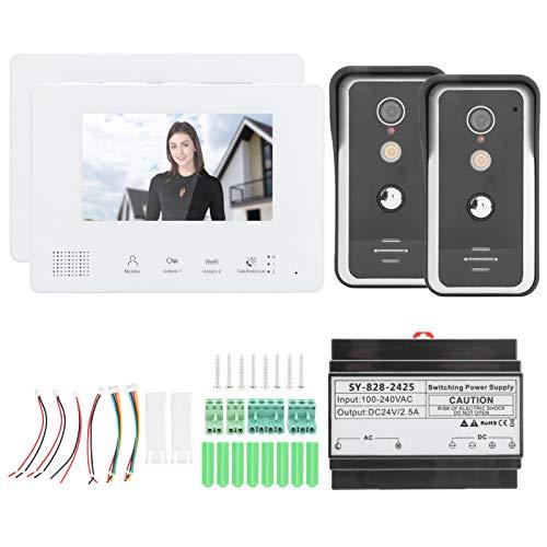 Portero automático con visión nocturna, timbre de la puerta Sistema de 2 cables Fuente de alimentación central con efecto anti-oxidación y a prueba de lluvia para la seguridad del hogar