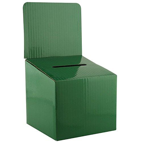 My Charity Boxes–Caja de cartón de tamaño mediano - Urna - Buzón de sugerencias - Urna para rifa - Caja para entradas - Con tapa extraíble para utilizarla en el mostrador (5 unidades), color verde