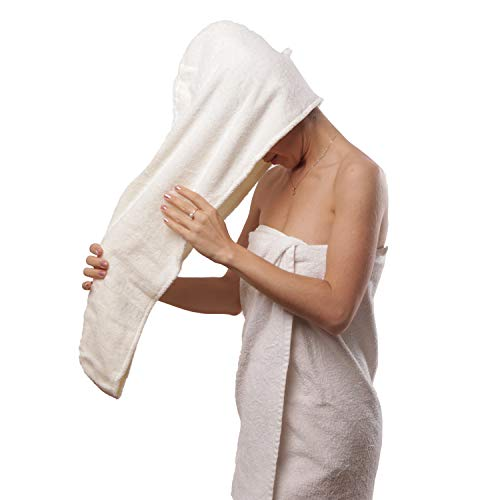 Aspen5 Huge 400 GSM Cotton Hair Towel Wraps for Women | Super Absorbent Quick Dry Hair Towel | Hair Turban Ideal for Long and Curly Hair | Plopping Towel Curly Hair (Coral White)