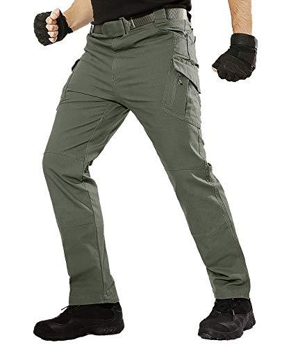 TACT BESUHerren Cargohose Outdoor Militär Tactical Hose Männer Stretch Arbeitshose mit Multi Taschen- Gr. 34 (XL), Grün