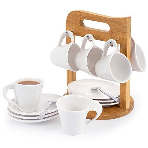 SOPRETY Kaffeetassen 6er Set mit Untertassen auf Ständer aus Bambus, Porzellan Espressotassen 100ml Kaffeeservice für 6 Personen Teeservice