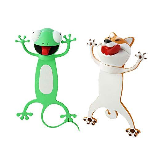 Lesezeichen Wacky Lustiges Tier-Lesezeichen für Kinder, niedliches Lesezeichen, Palz-3D-Stereo-Lesezeichen, Geburtstagsgeschenk, Geschenk für Kinder (Frosch + Hund)