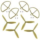 Haihuic Hélices tripales 4 pièces avec protecteurs d'hélice Compatible avec RC Hubsan X4 H501S H501A H501C H501M H501S W Dr501S Pro Drone