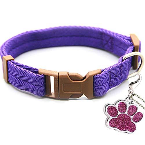 Yuan Ou Collar de Perro Collar de Perro Personalizado Las Etiquetas de identificación de Nombre Son una Correa para el Cuello Opcional Ajustable para Pitbull Pugs Beagle pequeños y medianos