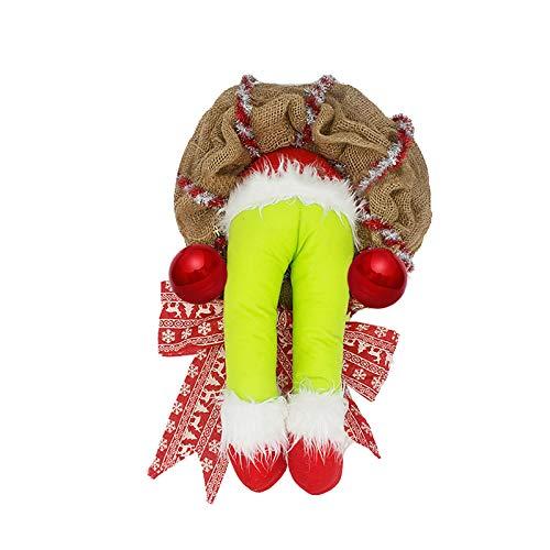 BBQQ - Couronne de Noël en toile de jute volée - Décoration de Noël - Décoration de Noël - Décoration de sapin de Noël - Décoration de Noël - Pour les familles