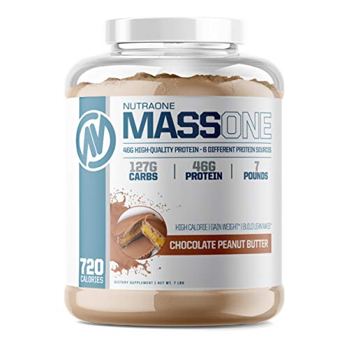 Massone Mass Gainer Protein Powder by NutraOne – Gain Weight Protein Meal Replacement (Chocolate Peanut Butter - 7 lbs.)