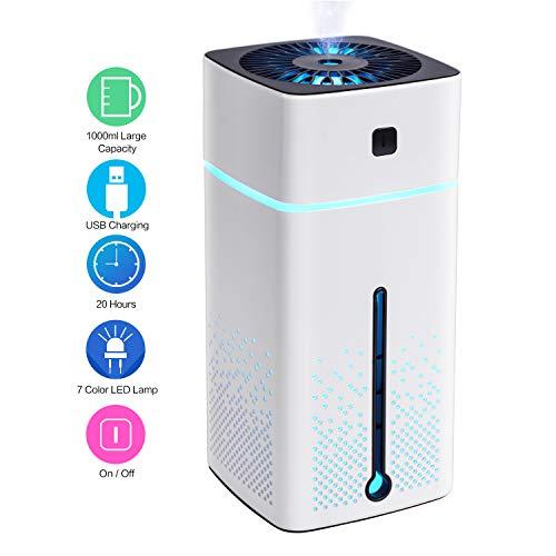 EUKO Ultraschall Luftbefeuchter leise USB 1L Humidifiers mit 7-farbige LED, 50ml/h Automatische Ausschaltung Luftbefeuchter für baby Schlafzimmer, Kinderzimmer, Büro