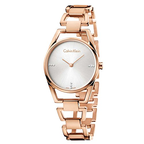 Calvin Klein Damen Analog Quarz Uhr mit Edelstahl Armband K7L2364T