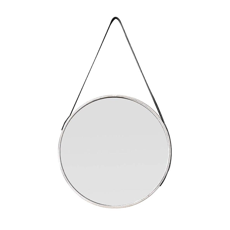 鉄道日食付添人IAIZI エレガントなラウンドミラー装飾ミラー調整可能なショルダーストラップの直径35/45 cmダークグレーPUレザー (Size : Diameter-45cm)