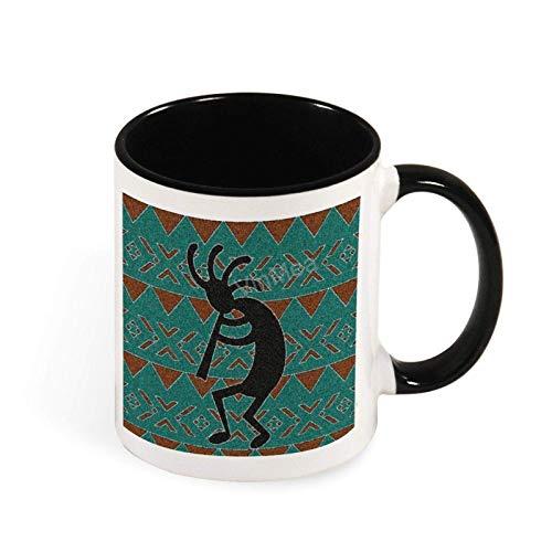 N\A Tazas de café Divertidas, Grandes - Southwest Kokopelli, Taza de café Tostado Turquesa, Taza de 11 onzas, Blanco y Negro