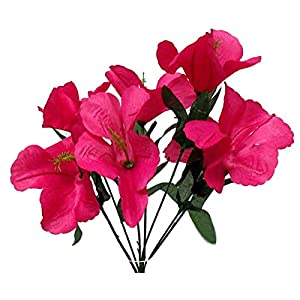 LINESS for 5X Hibiscus Artificial Silk Flowers Centerpiece Fake Faux Bouquet Party Tropical DIY LINESS for Wedding Flowers, Petals & Garlands Floral Décor – Color is Fushsia