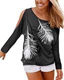 YOINS Cold Shoulder Tops for Women Long Sleeves Feather Print Blouse Loose Casual Cut Out T-Shirts