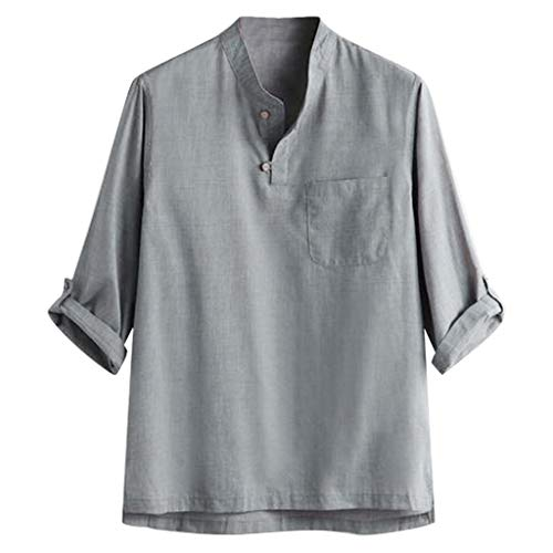 Luotuo Herren Leinenhemd Sommer 3/4 Ärmel Freizeithemd Mode Sommer Volltonfarbe Leinen Hemd Persönlichkeit Tops Casual Regular Fit Oberteile Shirt