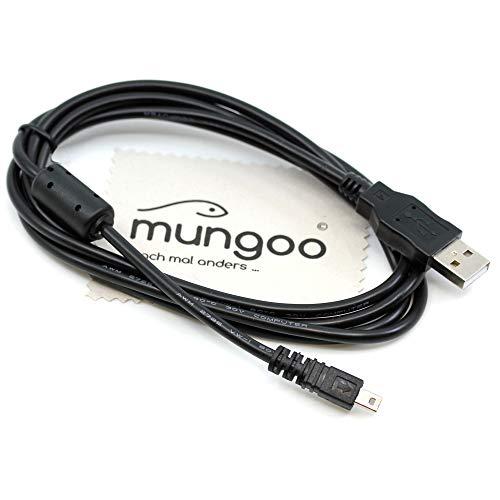 USB Datenkabel kompatibel mit Panasonic Lumix DMC-FS14, DMC-FS15, DMC-FS16, DMC-FS18, DMC-FS20, DMC-FS22, DMC-FS25, DMC-FS28 Digitalkamera 1,5m Daten Kabel OTB mit mungoo Displayputztuch