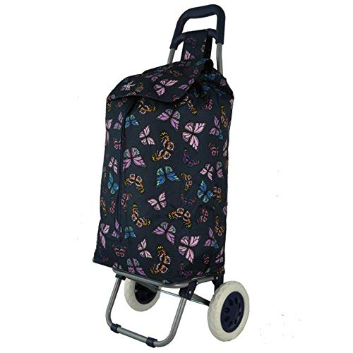 Hoppa 47Ltr Lightweight Shopping Trolley, Hard Wearing & Foldaway for Easy Storage with 3 Years Guarantee (Butterflies (Navy))