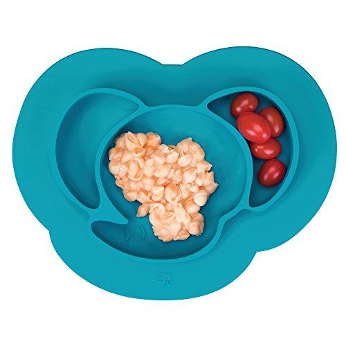 InterDesign IDjr assiette bébé, set de table enfant antidérapant en silicone, assiette ventouse avec motif d'éléphant, turquoise