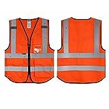 Orange Salzmann - Chaleco de seguridad de alta visibilidad 3M con bolsillo para identificación de...