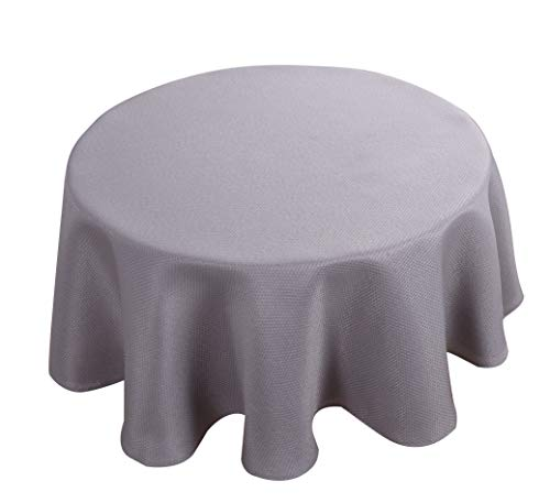 Biscaynebay Textured Fabric Tablecloths, Water Resistant Spill Proof Tablecloths for Dining, Kitchen, Wedding and Parties, Silver Grey 60 Inches Round
