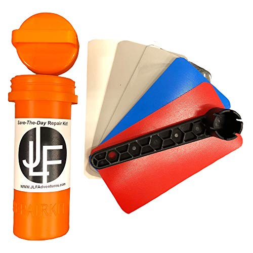 JLF Repair Kit for Inflatable Stand Up Paddle Boards (SUP)   Includes Red, White, Blue, Clear Grey PVC and Wrench (No Adhesive)