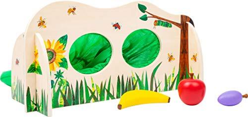 Small Foot- Chenille Qui Fait des Trous Mur, Bois, avec 3 Sortes de Fruits, Jeu à tâter avec Fermeture éclair Jouets, 11343, Multicolore