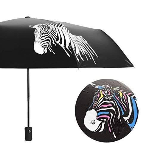 Qinlee Wind Beständig Klapp Automatische Regenschirm Regen Frauen Auto Luxus Große Winddicht Regenschirme Regen Für Männer Schwarz Beschichtung Zebra Sonnenschirm