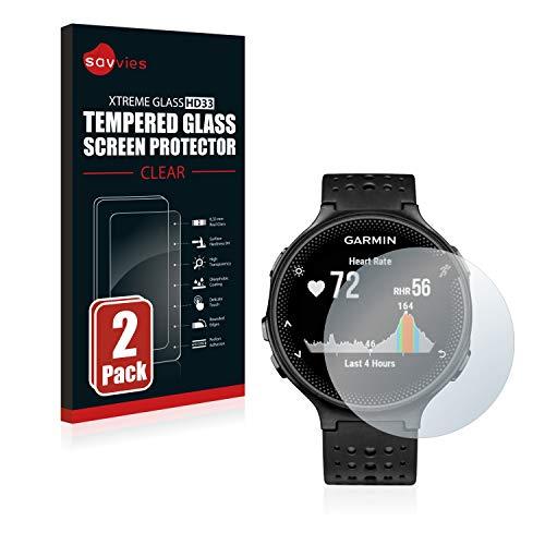 Savvies Panzerglas kompatibel mit Garmin Forerunner 235 (2 Stück) - Echt-Glas, 9H Festigkeit, Anti-Fingerprint