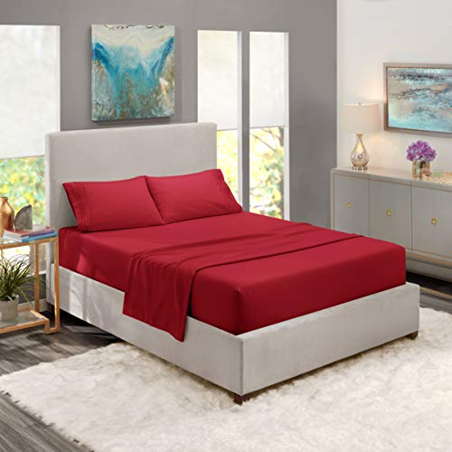 Nestl Bedding Soft Sheets Set – 4 Piece Bed Sheet Set, 3-Line Design Pillowcases – Easy Care, Wrinkle Free – Good Fit Deep Pockets Fitted Sheet – Warranty Included – Queen, Burgundy Red