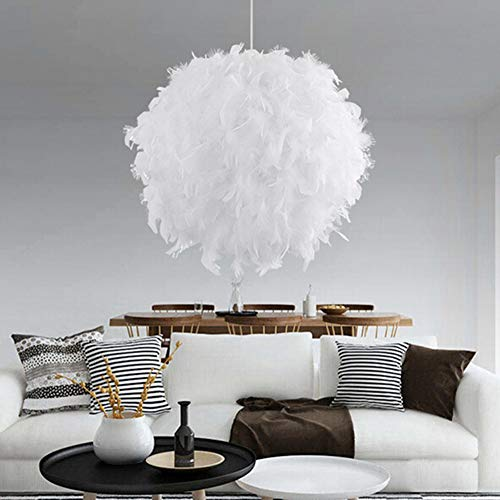 AUA Lampada a sospensione in piume, Lampadario diametro 30 cm bianco