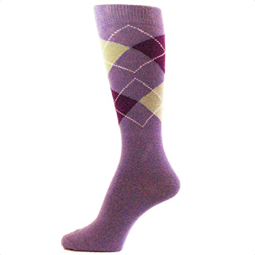 Spotlight Hosiery Men's Groomsmen Wedding Argyle Dress Socks-Lavender, sock size 10-13