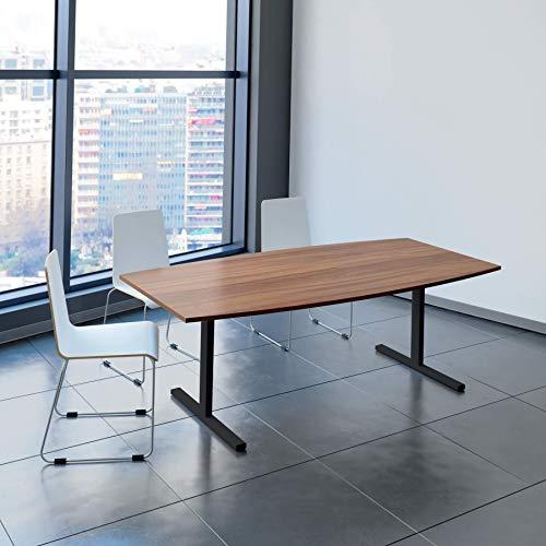 Weber Büroleben GmbH Easy Konferenztisch Bootsform 200x100 cm Nussbaum Besprechungstisch Tisch, Gestellfarbe:Anthrazit