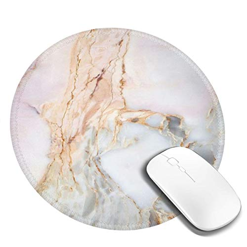 Mouse Pad with Stitched Edge, Round Mousepad Non-Slip Rubber Base Gaming Mouse Mat for Laptop and Computer 7.9 x 7.9 x 0.1 Inch, Pink Marble