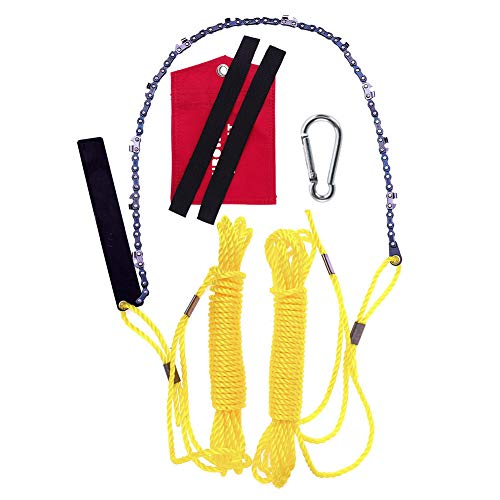 Rope Saw 24 Inch Long Chain & FREE Fire Starter Best Compact Folding Hand Saw Tool for Survival Gear, Camping, Hunting, Tree Cutting or Emergency Kit, Replaces Your Pruning & Pole Saw