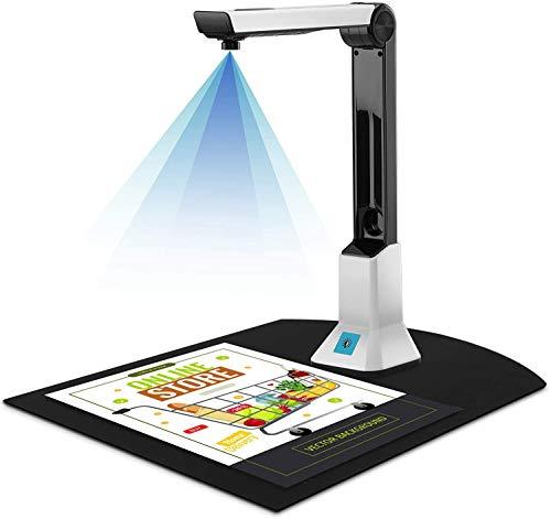 Elikliv Escáner de Documentos con Alta Definición, Portátil Cámara de Documentos A4 con 8 Megapíxeles Proyección en Tiempo Real Versatilidad de Grabación de Vídeo OCR para Reconocimiento de Archivos