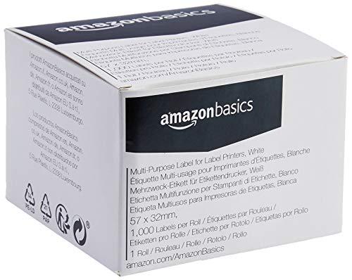 AmazonBasics - Mehrzweck-Etiketten für Etikettendrucker, Weiß, 57 mm x 32 mm, 1000 Etiketten pro Rolle, 1 Rolle