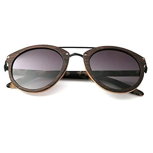 UV400 gepolariseerde Metal zonnebril/dunne platen bril for de vrouw bij Travel, Outdoor Sport en activiteiten, als geschenk for vrienden en familie (Color : Ebony Wood+graduation)