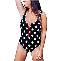 bañadores Mujer Natacion,Sujetador Acolchado Push-up Monokini con Estampado de Cremallera para Mujer Traje de baño de una Pieza sin Respaldo