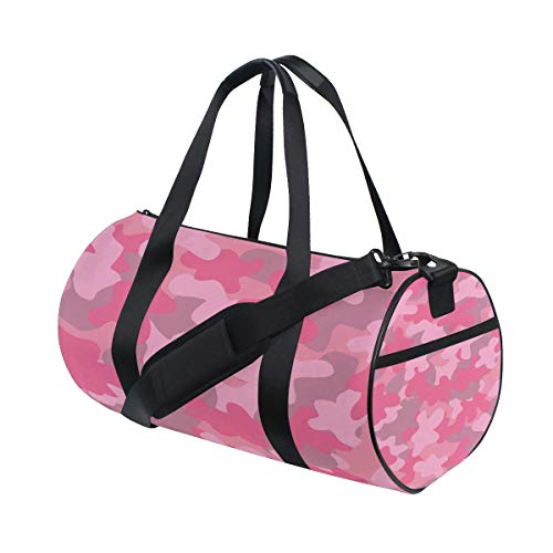 Barrel Duffel Bag Pink Camouflage Watercolor Sports Gym Travel Bag