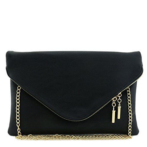 Large Envelope Clutch Bag with Chain Strap Black