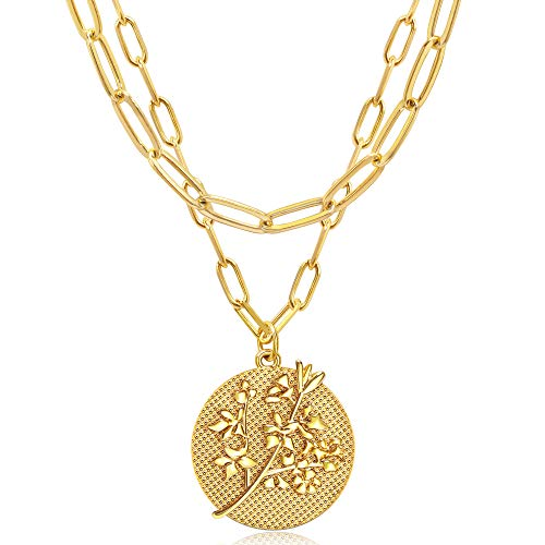 JSJOY Gold Layered Necklaces for Women 18k Gold Plated Engraved Birth Month Flower Coin Pendant Necklace Paperclip Choker Necklaces Chain Birthday Gifts for Her Mom
