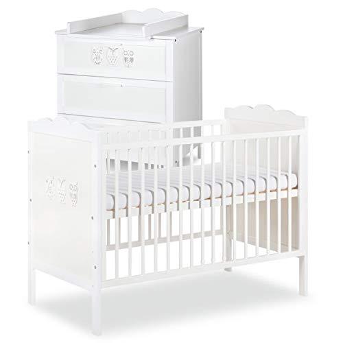 MARSELL Ensemble commode à langer + lit bébé 120X60