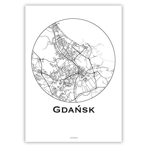 Plakat Danzig Gdansk Polen Minimalist Map - Poster, City Map, Dekoration, Geschenk