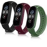 AYOU Correa para Xiaomi Mi Band 5 Correa, Relojes Repuesto Pulsera de Silicona (No Compatible Mi Band 4) (Negro/Vino Rojo/Verde Musgo)