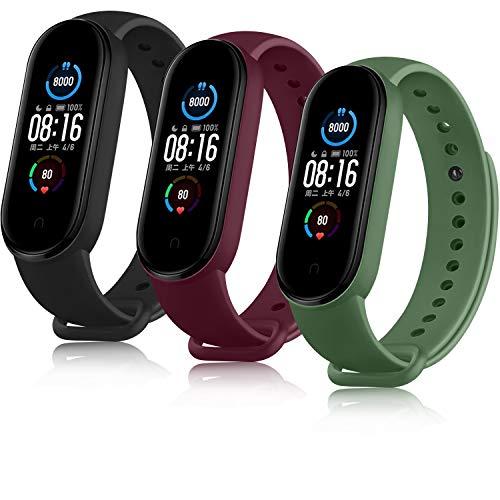 AYOU Correa para Xiaomi Mi Band 5 Correa, Relojes Repuesto Pulsera de Silicona (No Compatible Mi Band 4)