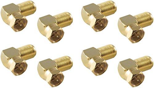 Poppstar 8X SAT-Winkel-Adapter (Antennen Winkeladapter 90 Grad gewinkelt) (Coax F-Kupplung auf F-Stecker) Winkelstecker für Koaxialkabel - Antennenkabel, vergoldet