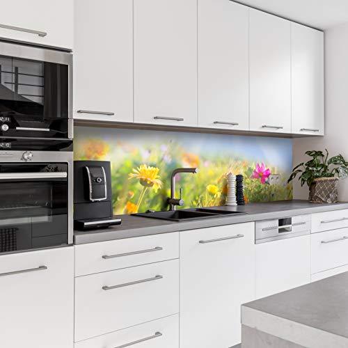 Dedeco Küchenrückwand Motiv: Blumen V3, 5mm Hartschaum Kunststoffplatte PVC als Spritzschutz Küchenwand Wandschutz wasserfest, UV-Lack glänzend, alle Untergründe, 220 x 60 cm