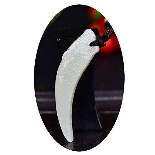 Buy and buy at Brandon Natural Hetian Jade Jade Evil Spirits Wolf Pendant - White Jade Dragon Tooth Pendant - Men's Jade Pendant Jade