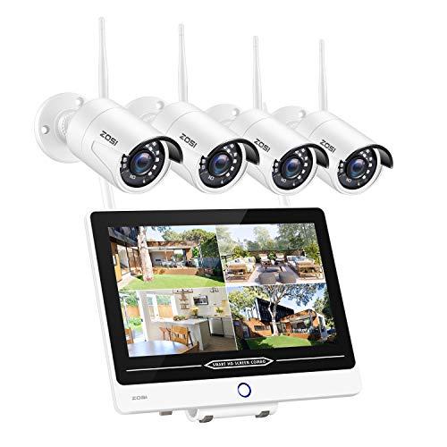 ZOSI Kit de Seguridad WiFi 1080P Sistema de Vigilancia Inalámbrica con Monitor LCD de 12,5 Pulgadas con 1TB Disco Duro IP66 Impermeable Visión Nocturna de 100 pies - 1TB HDD