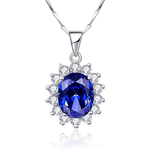 Bonlavie 46 cm Lange Halskette mit Anghänger aus 925 Sterling Silber und Blauem Tansanit, 8,15 ct, Kate Middleton, Prinzessin Diana …