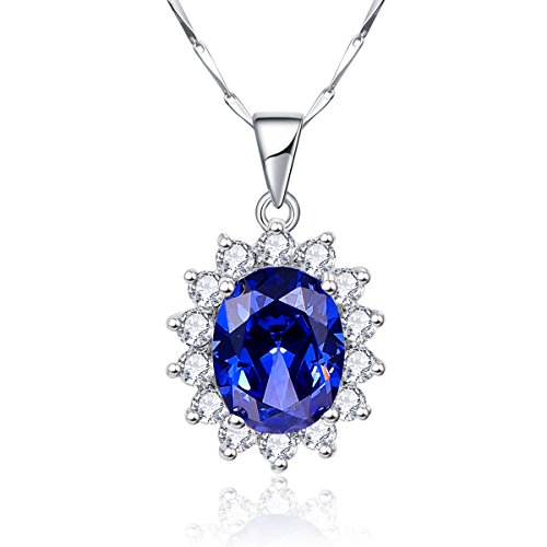 Bonlavie Kate Middleton's Princess Diana 8.15ct Created Blue Tanzanite 925 Sterling Silver Pendant Solitaire Necklace 18'